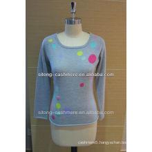 100% pure round neck intarsia mongolian Cashmere sweater