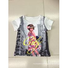 Linda menina t-shirt em roupas de crianças com foto impressão (sgt-004)