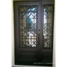 Portes d'entrée extérieures en fer forgé avec verre trempé