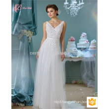 Spaghetti strap sexy slim fit chapel train lace applique backless ball gown alibaba wedding dress
