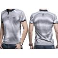 Benutzerdefinierte Stickerei Logo Fashion Streifen Großhandel Baumwolle Polo T-Shirt