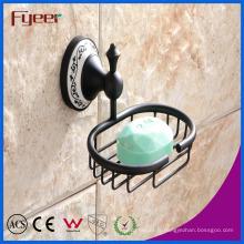 Fyeer Classique Noir Accessoire de salle de bains Porte-savon en laiton
