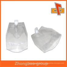 Sac à bec transparent de bonne qualité, sac à bec en nylon pour l'eau d'emballage ou des boissons