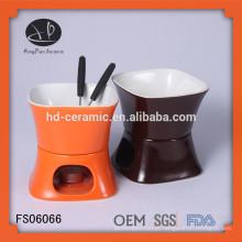 Conjunto de fondue de cerâmica oem, conjunto de fondue de cerâmica com forquilha, fondue de chocolate de cerâmica com cor sólida branca
