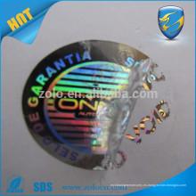Facotry suministro directo anti-falsificación de embalaje de seguridad holográfica pegatina vacío