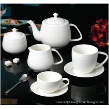 NEW BONE CHINA EMBOSSED  TEA SET