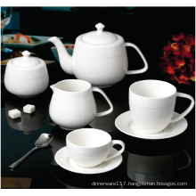 NEW BONE CHINA EMBOSSED  TEA SET
