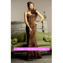 El cordón y rebordear el vestido de la correa de espagueti para la madre de la novia