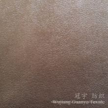 Gold Stamping Suede 100% Polyester Leather Fabric with Fleece Backing