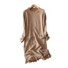 Vestido de cachemira pura mujer con borla decoración O cuello moda vestido de invierno hasta la rodilla vestidos de punto