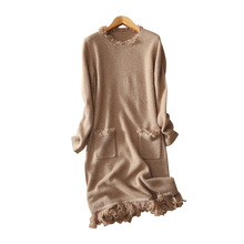 Women pure cashmere dress with tassel decor O neck fashion winter dress knee length knitting dresses