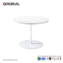 Mesa de centro pequeña redonda Orizeal, mesa auxiliar de madera blanca (OZ-OTB002)