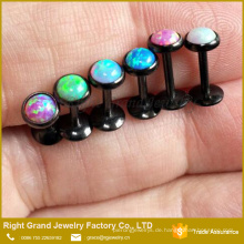 Angepasste Bestseller Black Plated Internal Threaded Opal Kostenlose Probe Lippe Labrets Ring