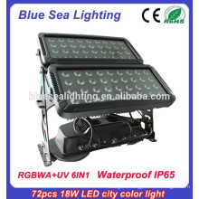 72pcs 18w 6 in 1 rgbwauv ip65 led outdoor waterproof lighting fixture