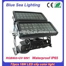 72pcs 18w 6 в 1 rgbwauv ip65 привело наружных водонепроницаемый светильник