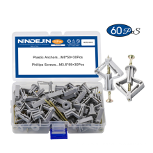 Nylon Toggle Anchor Plastic Drywall Wall Anchors Screw Assortment Kit Wall Anchor Plug with Screw