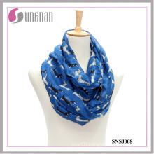 2015 Dachshund Pattern Printed Voile Ladies Infinity Scarf (SNSJ008)