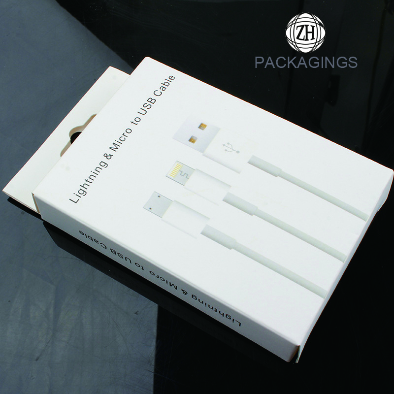 White paper USB data cable packaging box