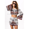 2017 Sexy women dresses two piece print party dress summer beach wear fashion women apparel clothing