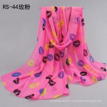Moda primavera y verano Patrón de labios impresos bufandas Señora de protección solar bufandas largas gasa chal