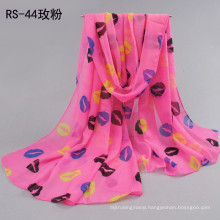 Fashion spring and summer Lips pattern printed scarves Lady's sunscreen long shawl chiffon scarves