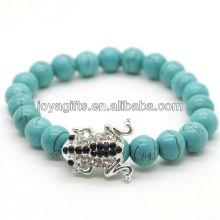 Türkis 8MM runde Perlen Stretch Edelstein Armband mit Diamante Legierung Frosch Stück