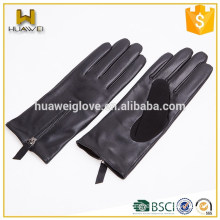100% genuine goatskin fashion Women goatskin leather gloves with zipper