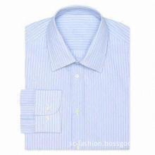 Men's Dress Shirt, Yarn-dyed Stripe Fabric, Made of 100% Cotton, Long Sleeves Shirt