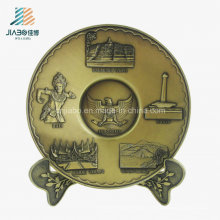 Best Sell Zinc Alloy Casting 3D Matt Gold Metal Tray for Souvenir