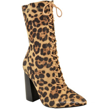 Ladies Lycra Calf Ankle High Block Heels Lace Up Leopard Print Stretch Boots Shoes