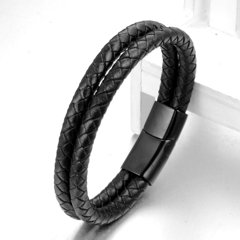Fashion Double Wrap Genuine Leather Magnetic Clasp Bracelet