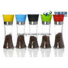 170ml Empty Pepper Grinder Glass Bottles with Plastic Cap