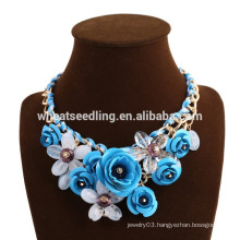 2015 newest design trendy colorful flower women's boho wholesale necklace