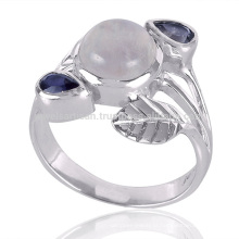 New Arrival Fashion Iolite e Rainbow Moonstone 925 Sterling Silver Ring