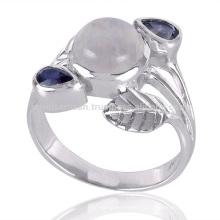 Новое Прибытие Модные Иолитом И Rainbow Лунный Камень 925 Серебряное Кольцо
