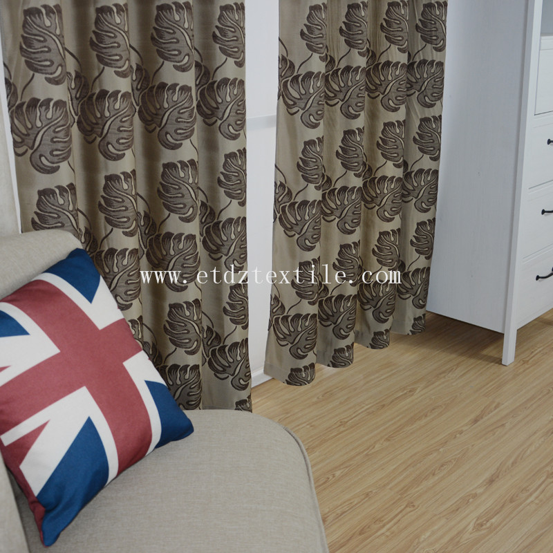 Popular Chocolate Jacquard Shrinkage Flower Design of Curtain