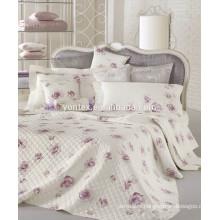 Flower quilted duvet cover set