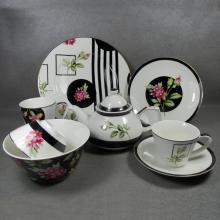 Juegos de vajilla de porcelana redonda de flores