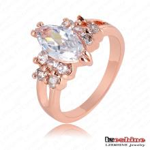 Glänzendes Rosen-Gold überzogener Zircon-Hochzeits-Ring (RIC0010-A)