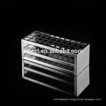 laboratory stainless steel / wooden test tube rack