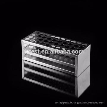 support pour tubes à essai en acier inoxydable / en bois de laboratoire