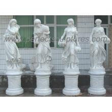 Escultura em mármore de pedra Estátua de quatro estações para decoração de jardim (SY-X1760)
