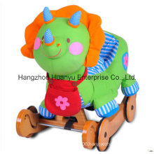 Multifunction Stuffed Rocking Animal-Dinosaur Rocker with Wheels