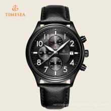 Timesea mens esportes couro quartzo relógios 72252