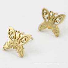 Joyería plateada oro del pendiente de la mariposa del acero inoxidable
