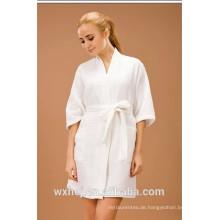 Weißer gebleichter unisex 50% Baumwolle 50% Polyester Waffel Kimono Bademantel