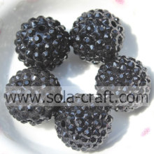 20*22MM Fashion Black AB Color Solid Resin Rhinestone Round Beads