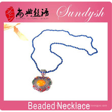 Joyería étnica al por mayor única hecha a mano azul larga Beade collar colgante grande Custome Jewelery