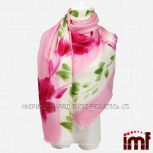 Vermelho flor verde folha pintado à mão 100% Mercerize lã lenço xale