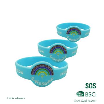 Pulseiras de borracha de cor de preenchimento com logotipo personalizado / pulseiras de borracha baratas